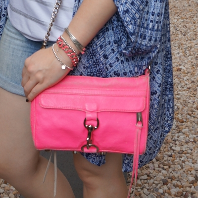 Rebecca Minkoff neon pink mini MAC with silver bracelet stack denim shorts kimono | awayfromtheblue
