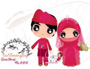 59 Gambar Kartun Muslimah Wedding
