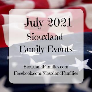 """in background, an American flag. in foreground, the words """"July events for Siouxland Families"""""""