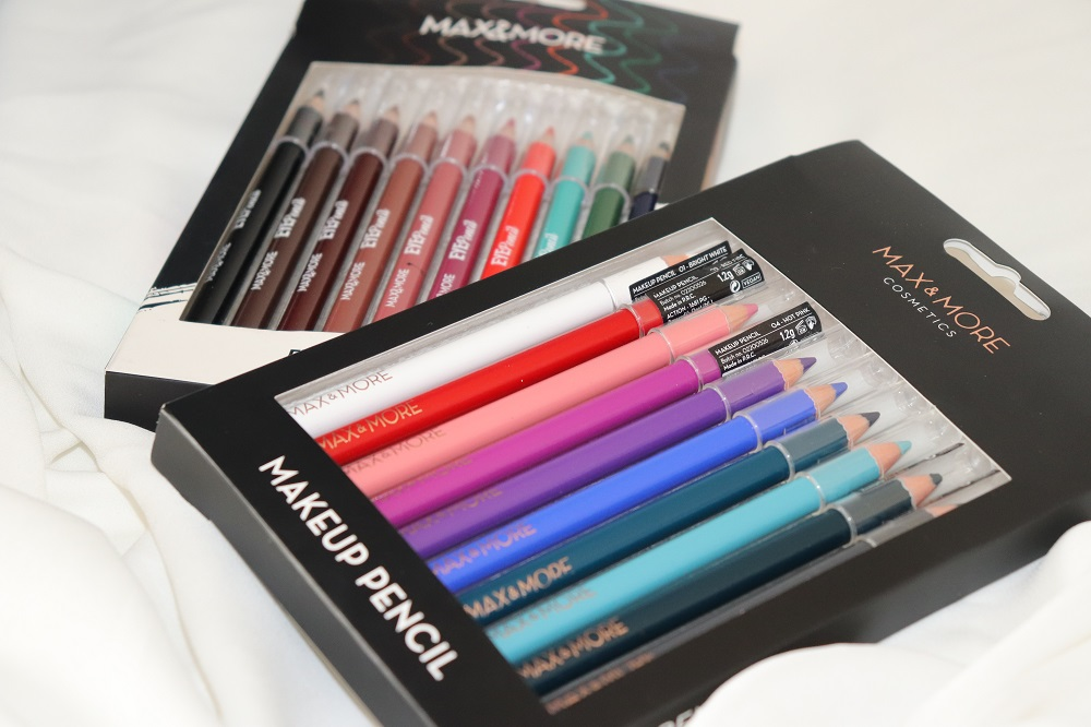 Max & More Action Eye Pencils Pack of 10 Review & Swatches London Beauty Blogger Makeup Artist The Burn Out Brand
