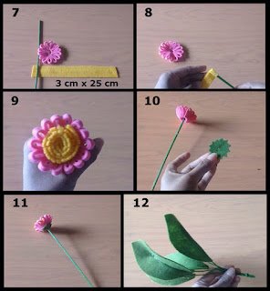 Gambar tutorial buket bunga daisy dari kain flanel part 2