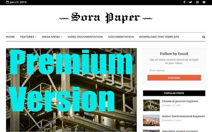 Sora Paper Premium Blogger Template Free और इसका Price 10$ है