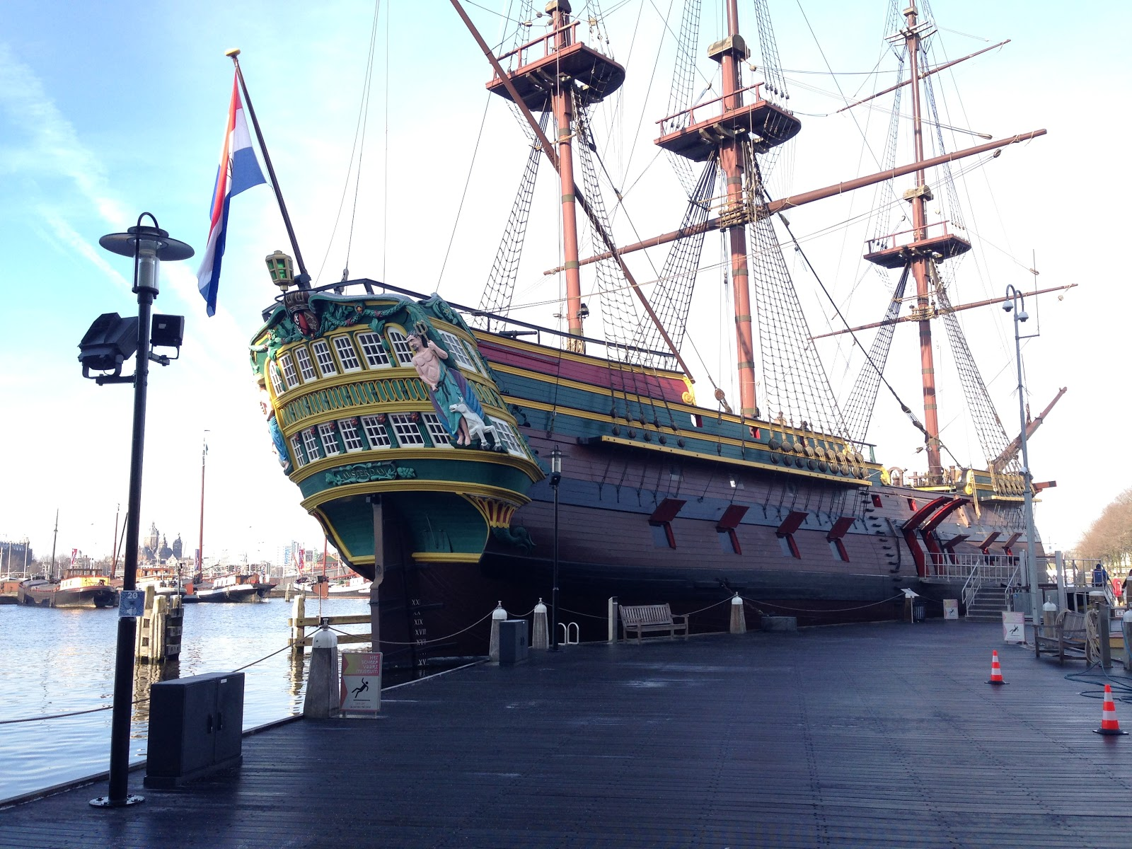 VOC Ship parked in the most unexplored landmarks of Amsterdam