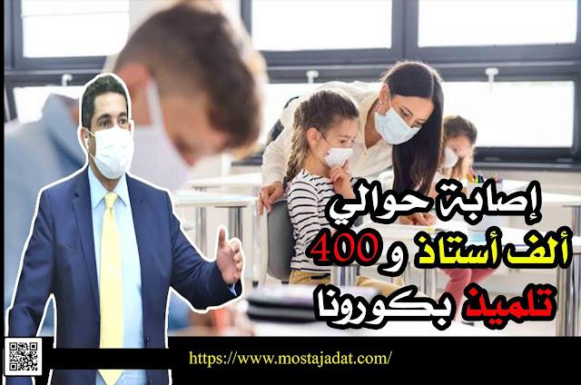 رسميا.. إصابة حوالي ألف أستاذ وأستاذة وأزيد من 400 تلميذ بكورونا