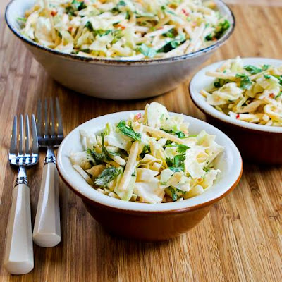 Apple-Jicama Slaw with Sweet and Spicy Sriracha Dressing found on KalynsKitchen.com.