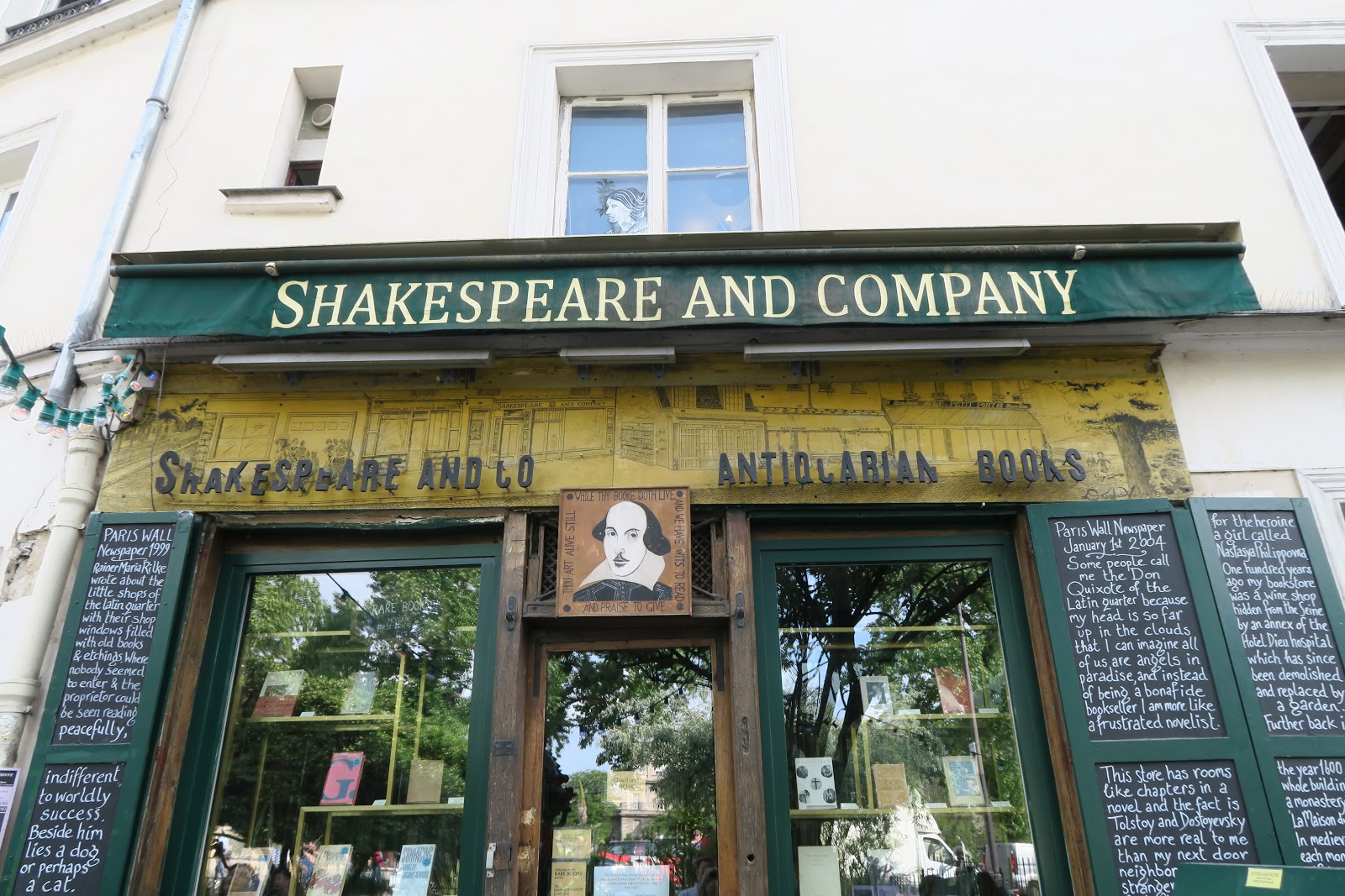 Exterior shot of the Shakespeare and Company book shop from our trip to Paris