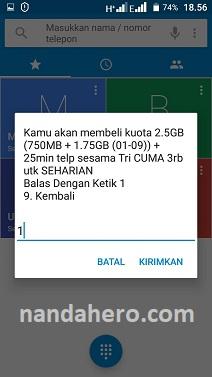 cara paket 3 tri 2.5gb 3rb 2019