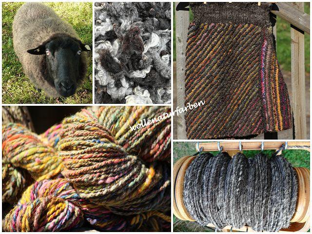 Rock aus Pommern- und pflanzengefärbter Milchschafwolle