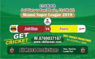 Paarls vs Jozi 21st Mzansi Super League Match Prediction Today Reports