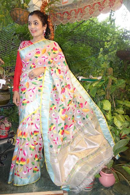 Full body floral pattern Kota Doria Saree