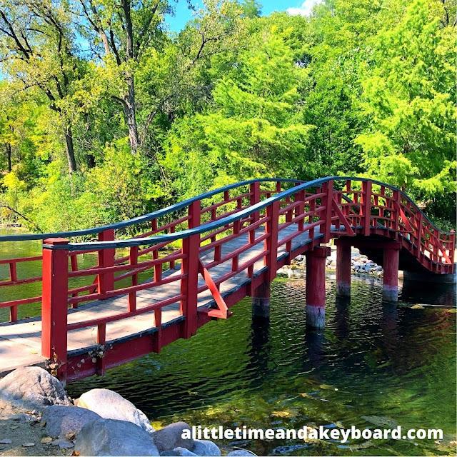 The gentle rolling Japanese footbridge at Rotary Botanical Gardens.