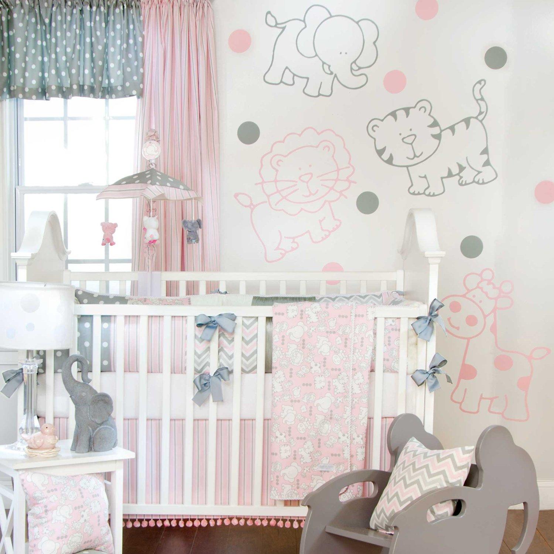 Cuarto De BebÉ En Rosa Y Blanco: Pink And Grey Crib Bedding Sets For Baby Girls' Nursery