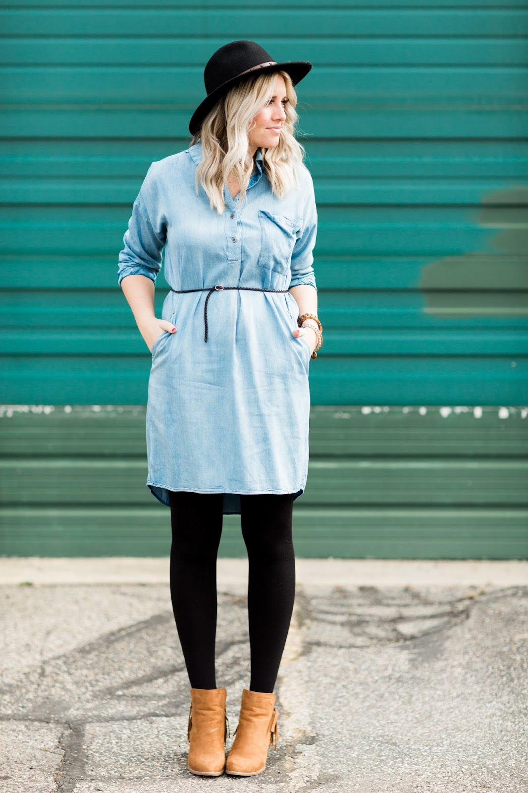 Winter Outfit, Utah Fashion Blogger, Denim Dress