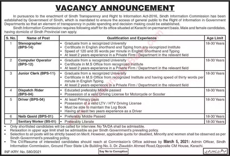 Latest Jobs in Pakistan in Sindh Information Commission Jobs 2021