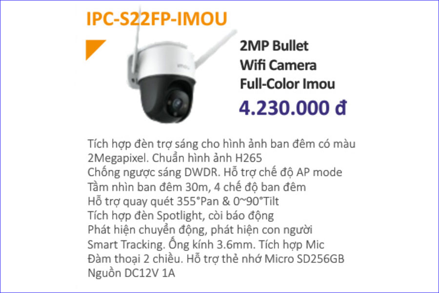 Giá bán của camera Imou IPC-S22FP
