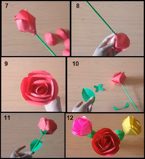 Tutorial Bunga Mawar Kertas Origami Prakarya SD 2