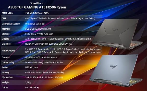 TUF Gaming A15 FX506 Ryzen 7-4800 RTX 2060 8 GB