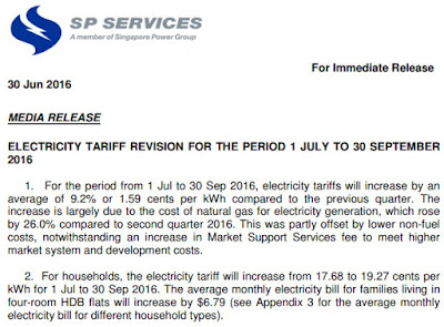 Singapore Electricity Tariff Goes Up