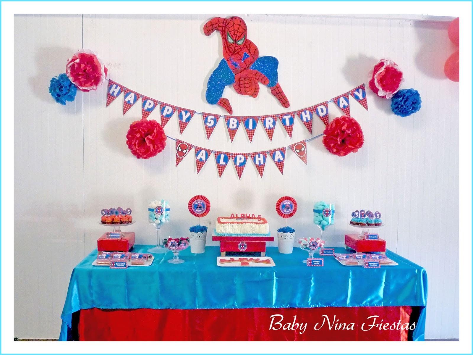 Baby nina fiestas mesa dulce spiderman para alpha - Ideas para decorar mesas de chuches ...