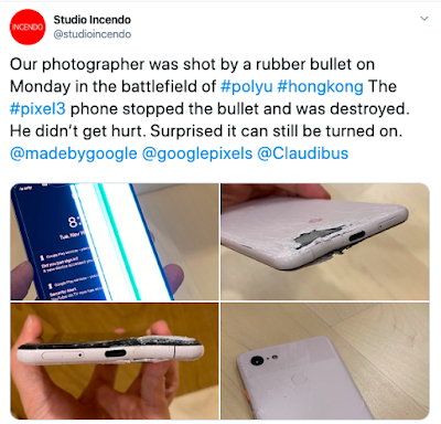 Google Pixel 3 XL takes bullet and saved a photographer in Hong Kong