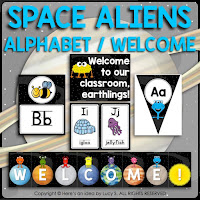 Space Classroom Decor Theme: alphabet posters in two sizes, welcome poster, welcome bunting