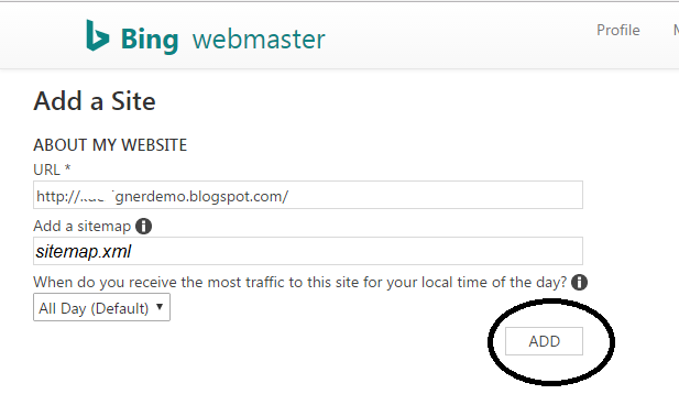 submit blogger sitemap to bing