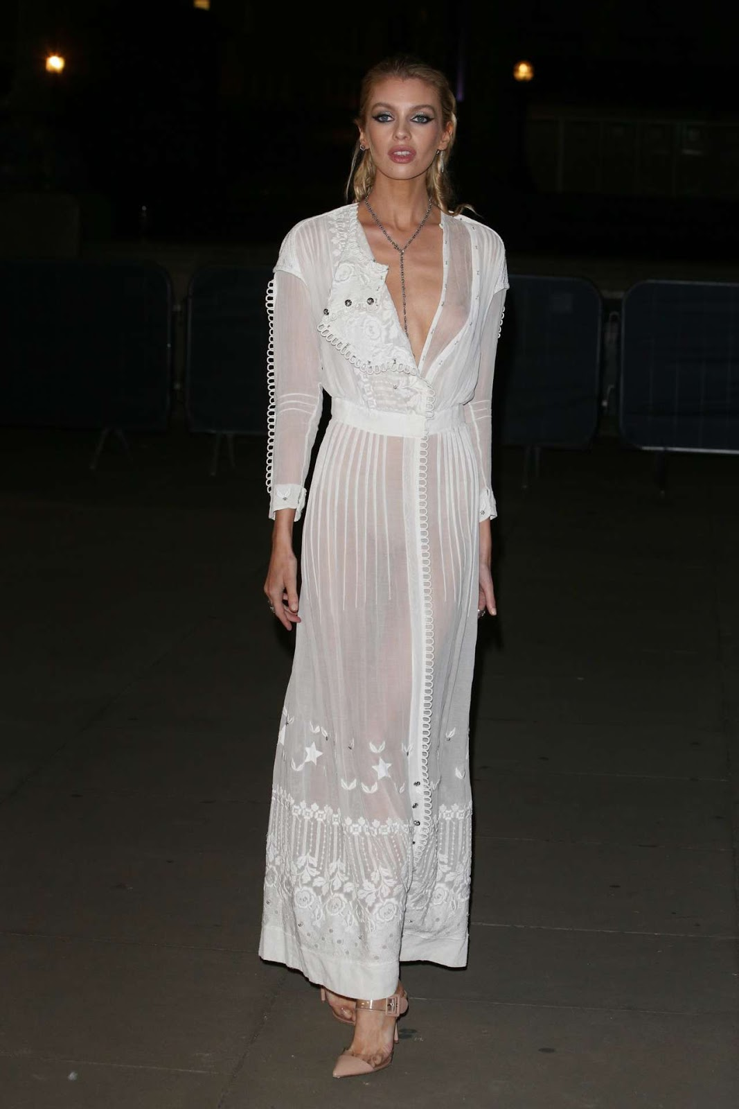 Stella Maxwell bares nipple in sheer gown at the Fashion For Relief Charity Party at LFW