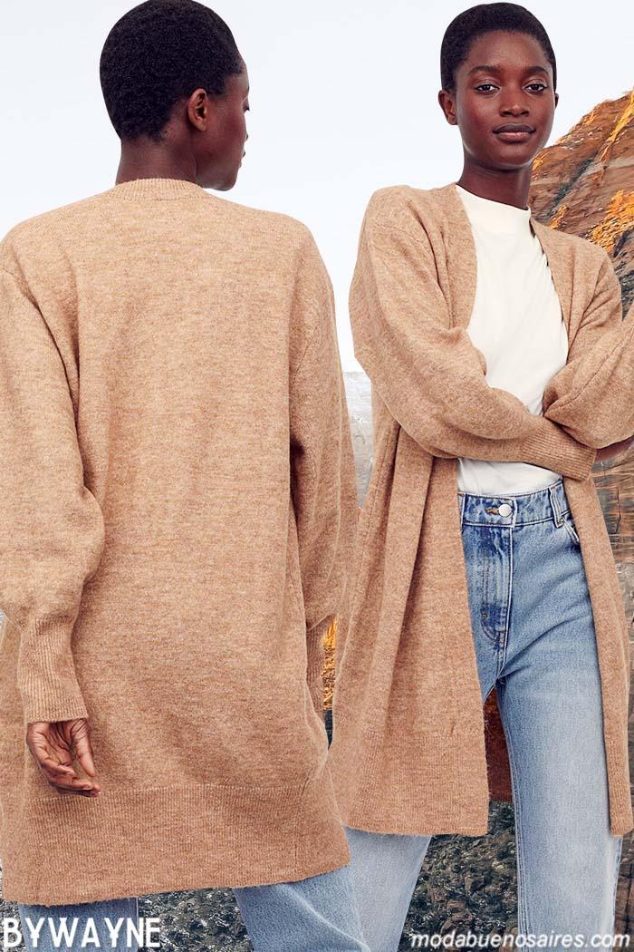 Sacos tejidos largos invierno 2021