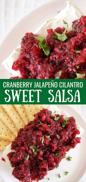 cranberry salsa over cream cheese with crackers