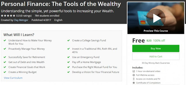 [100% Off] Personal Finance: The Tools of the Wealthy| Worth 20$
