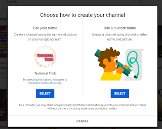 Click on an option to start a YouTube channel