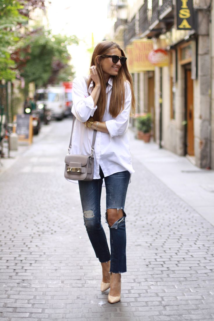 Bartabac - White Button Down + Proenza Schouler PS11 Bag