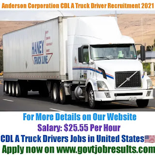 Anderson Corporation CDL A Truck Driver Recruitment 2021-22