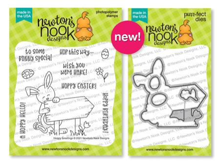Hoppy Greetings Stamp Set and coordinating die set by Newton's Nook Designs