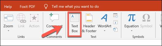اضغط على إدراج> مربع نص لإضافة مربع نص في PowerPoint