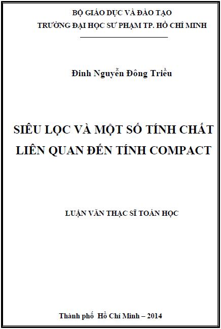 Siêu lọc và một số tính chất liên quan đến tính Compact