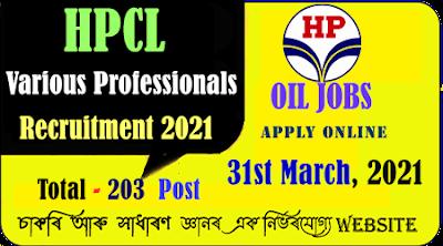HPCL Various Professionals Recruitment Notice 2021