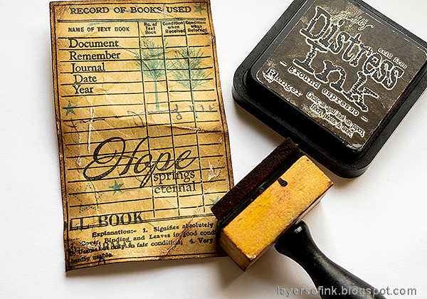 Layers of ink - Textured Vintage Notebook Tutorial by Anna-Karin Evaldsson. With Simon Says Stamp Document It stamp set.