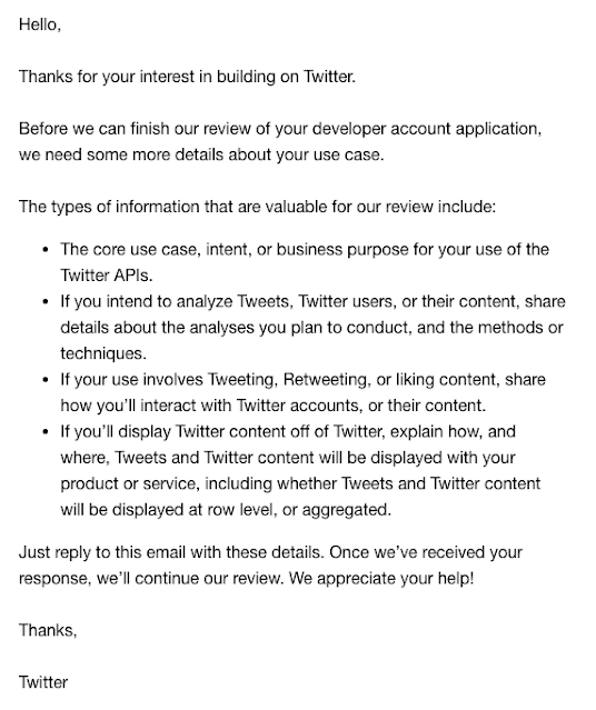 Twitter info email