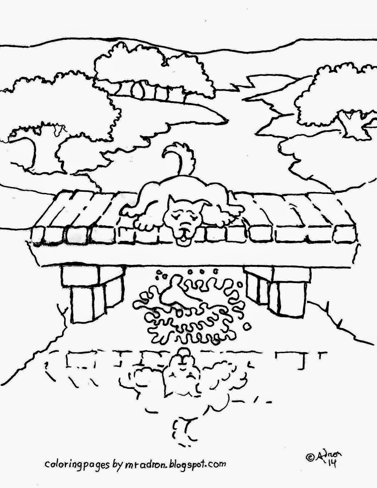 Coloring Pages For Kids By Mr Adron Aesop S Fable The Dog And The River Reflection Free