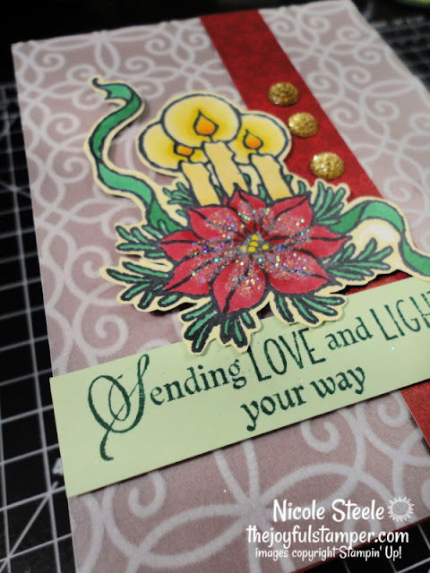 plush pointsettia paper, god's peace stamp set, christmas card, stampin' up!, flocked paper, coloring with markers, how to make a card, cardmaking, learn to make a card, nicole steele, independent stampin' up! demonstrator, the joyful stamper, pittsburgh pa