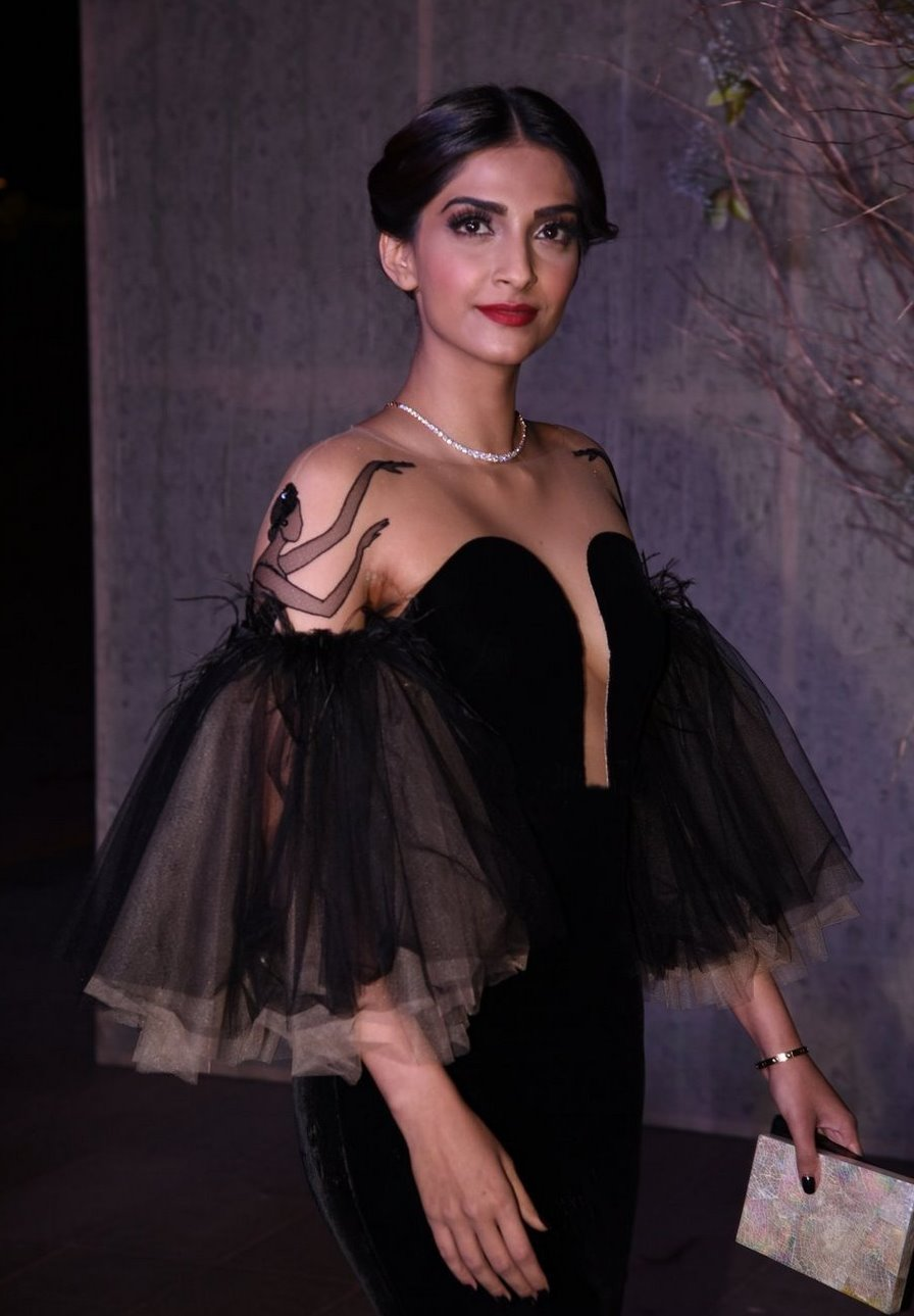 Actress Sonam Kapoor at Birthday Bash In Black Dress