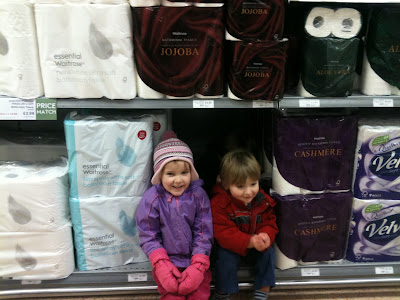 kids on supermarket shelves