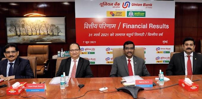 वित्तीय वर्ष 2020-21 में यूनियन बैंक को 2906 करोड़ रुपये का शुद्ध लाभ