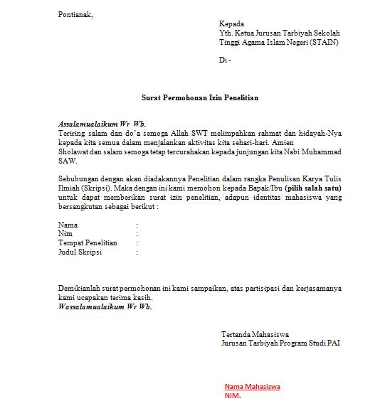 Contoh Surat Izin Penelitian STAIN - ZONA PENDIDIKAN