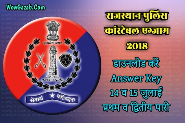 Raj Police Constable Exam 2018  Answer Key PDF