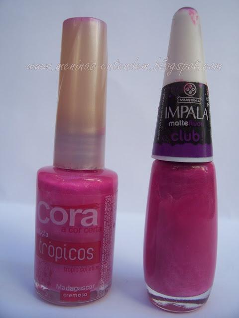 Esmalte roxo que virou rosa