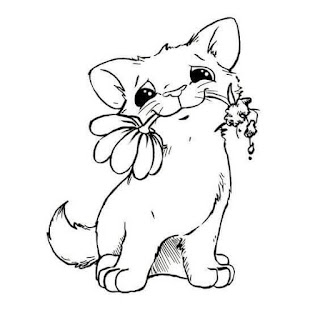 Cute Baby Cat And Flower Coloring Pages