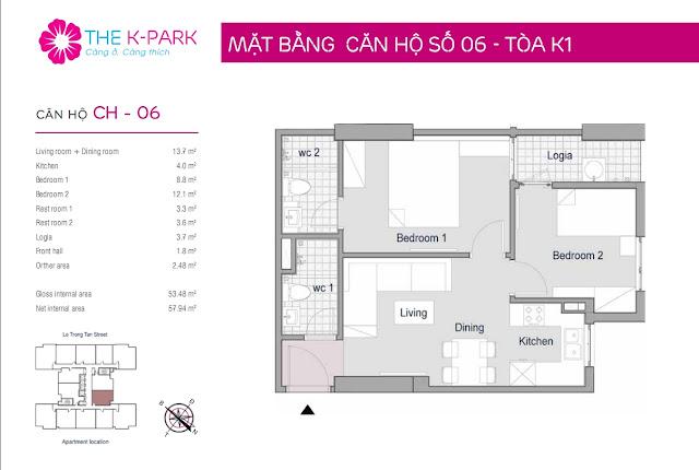 Thiết kế căn hộ 06-K1 chung cư THE K-PARK
