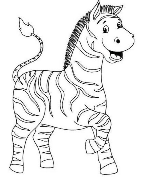 Hình tô màu ngựa vằn dễ thương cho bé
